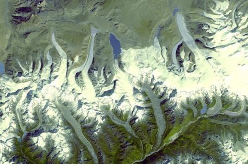 Satellite image of Himalayas, c/o NASA