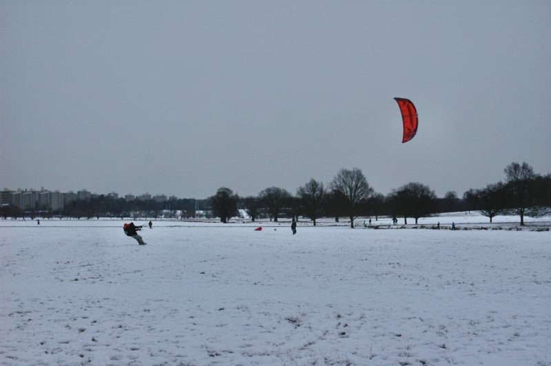 Snowboarding in Richmond Park
