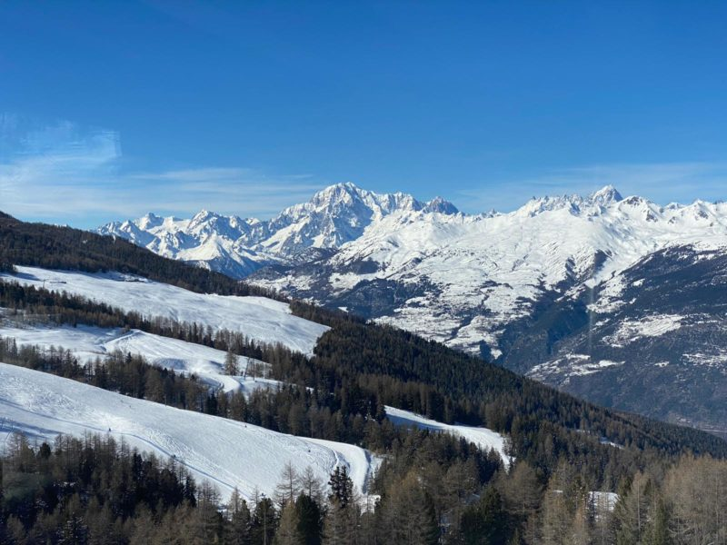 View of Monte Bianco (Mont Blanc) from Pila, Italy